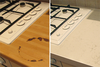 Easily replace damaged kitchen worktops