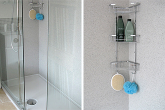 Quartz wall covering for shower cubicle